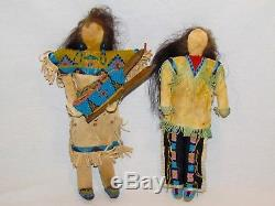 Antique Northern Plains Beaded Native American Hide Doll Family Set Indians