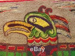 Antique Northwest Coast Native American Indian Hook Rug Folk Art Kwakwaka'wakw