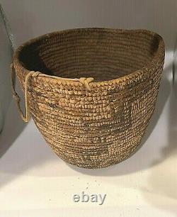 Antique Northwest Coast Salish Imbricated Berry Basket Native American