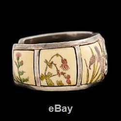 Antique Nouveau Native Northwest Coast Sterling Silver Bone Scrimshaw Bracelet