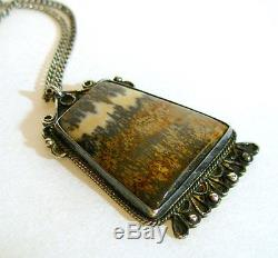 Antique ONE OF A KIND Sterling Silver Navajo Pendant W Ancient Petrified Wood