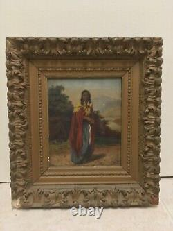 Antique Oil Painting Portrait Art of Native American Indian Woman 19th C. Signed