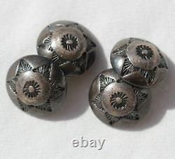 Antique Old Dead Pawn Native American Sterling Silver Stamped Button Cufflinks
