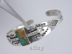 Antique Old Pawn Fred Harvey Era Navajo Silver & Turquoise Arrow Cuff Bracelet