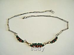 Antique Old Pawn Zuni Native American 5.5 Collar Necklace Green Turquoise Coral