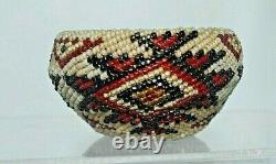 Antique Paiute Washoe Native American Beaded Basket Patriotic Red White Blue