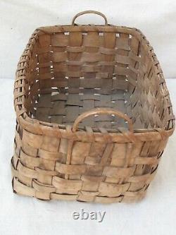 Antique Penobscot Native American Splint Basket with Wood Handles