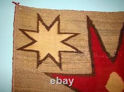 Antique Pictorial Navajo Rug Native American Stars Weaving