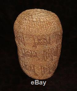 Antique Pictorial Wasco or Yakima Sally Bag, Indian Basket 7h x 5 1/2d