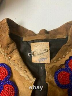 Antique Plains Indian Native American Child Leather Hide Beaded Jacket