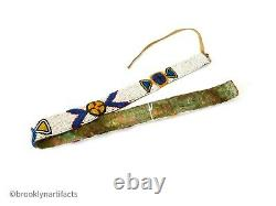 Antique Plains Native American Indian Blue & White Beaded Sun Belt / Sash