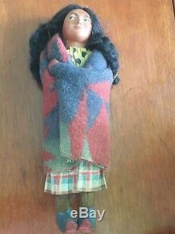 Antique Porcelain Wood 1920's Native American Indian Woman Skookum Doll