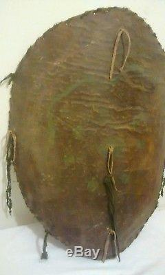 Antique Primitive 19th C Native American Plains Indian Buffalo Hump Snake Shield