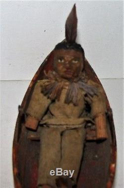Antique Pull Toy Wood Canoe / Native American Indian Primitive Folk Art