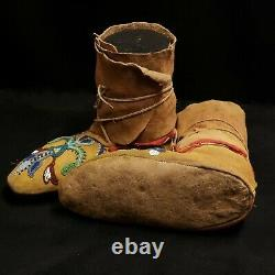 Antique Santee Sioux Female Beaded Mocassins Native American