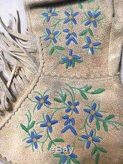 Antique Silk Embroidered Cowgirl Gauntlets Indian Native American