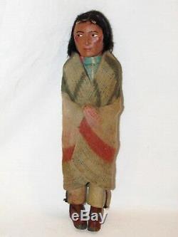Antique Skookum Male Native American Doll Folk Art Indian 12