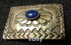 Antique Sterling Silver Lapis Cabochon Belt Native Navajo Hand Made Harvey Era