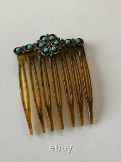 Antique Sterling Silver / Turquoise Native American Hair Comb