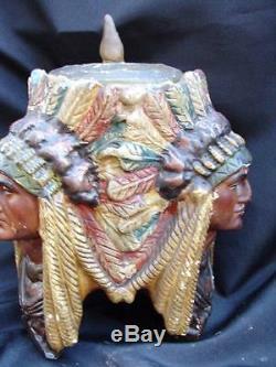 Antique Three Faced Indian Tobacco Jar / Humidor Native American Chalkware
