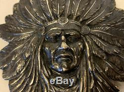 Antique Unger Brothers Sterling Silver Native American Indian Chief Pin