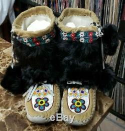 Antique VINTAGE Mukluks Boots Native American Inuit Leather Fur Beads