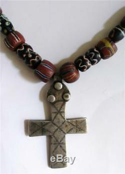 Antique Venetian African Trade Beads With Native American Indian Fur Trade Cross