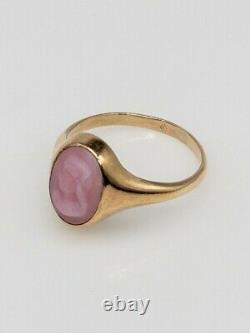 Antique Victorian 1870s Native American Indian CORAL GEM 14k Yellow Gold Ring