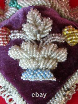 Antique Victorian Beaded Pin Cushion FlowersNative American Indian