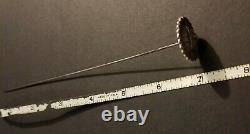 Antique Victorian Native American Indian Chief Sterling Silver Hat Pin