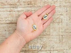 Antique Vintage 14k Gold Filled GF Native Zuni Turquoise MOP Inlay Earrings 4.6g