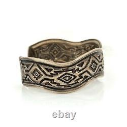 Antique Vintage 925 Sterling Silver Native Hopi Overlay Geometric Bracelet 23.3g