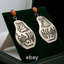 Antique Vintage 925 Sterling Silver Native Hopi Overlay Salmon Coral Earrings