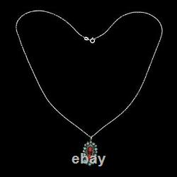 Antique Vintage 925 Sterling Silver Native Navajo Coral Turquoise Necklace 4.1g