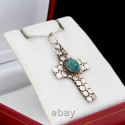 Antique Vintage 925 Sterling Silver Native Navajo Turquoise Cross Necklace 6.5g