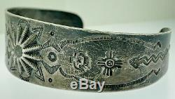 Antique Vintage Coin Sterling Silver Navajo Native Symbols+Button Cuff Bracelet