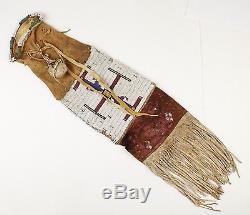 Antique/Vintage NATIVE AMERICAN INDIAN Leather Medicine Bag with Beads & Fringe
