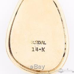 Antique Vintage Native 14k Gold Damale Turquoise Gurdal Necklace Pendant