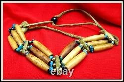 Antique Vintage Native American Indian Style Beaded Tourquise Leather BRACELET