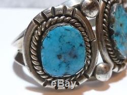 Antique Vintage Native American Sterling Silver & Turquoise Cuff Bracelet