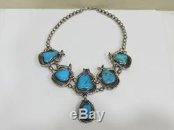 Antique Vintage Native American Sterling Silver & Turquoise Necklace