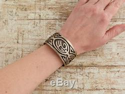 Antique Vintage Native Hopi Pawn Sterling Silver Maze Overlay Cuff Bracelet