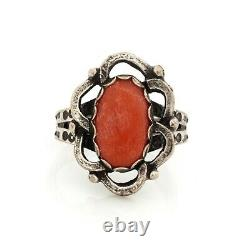 Antique Vintage Native Navajo 925 Sterling Silver Spiny Oyster Ring Sz 5.25 4.5g