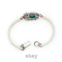 Antique Vintage Native Navajo 925 Sterling Silver Turquoise Spoon Bracelet 26.7g