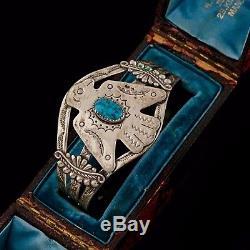 Antique Vintage Native Navajo Nickel Silver Bell Trading Post Cuff Bracelet