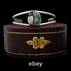 Antique Vintage Native Navajo Pawn 925 Sterling Silver Turquoise Cuff Bracelet