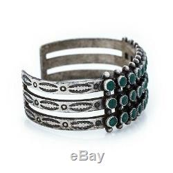 Antique Vintage Native Navajo Pawn Sterling Coin Silver Turquoise Cuff Bracelet