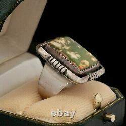 Antique Vintage Native Navajo Pawn Sterling Silver Turquoise Ring Sz 7.5 10.8g
