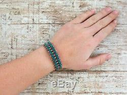 Antique Vintage Native Navajo Pawn Sterling Silver Turquoise Row Cuff Bracelet