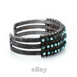 Antique Vintage Native Navajo Sterling Coin Silver Turquoise Row Cuff Bracelet